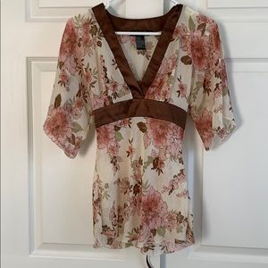 Rampage Flowered Blouse
